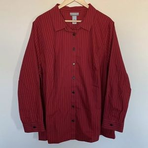 Catherines Non Iron Striped Career Shirt